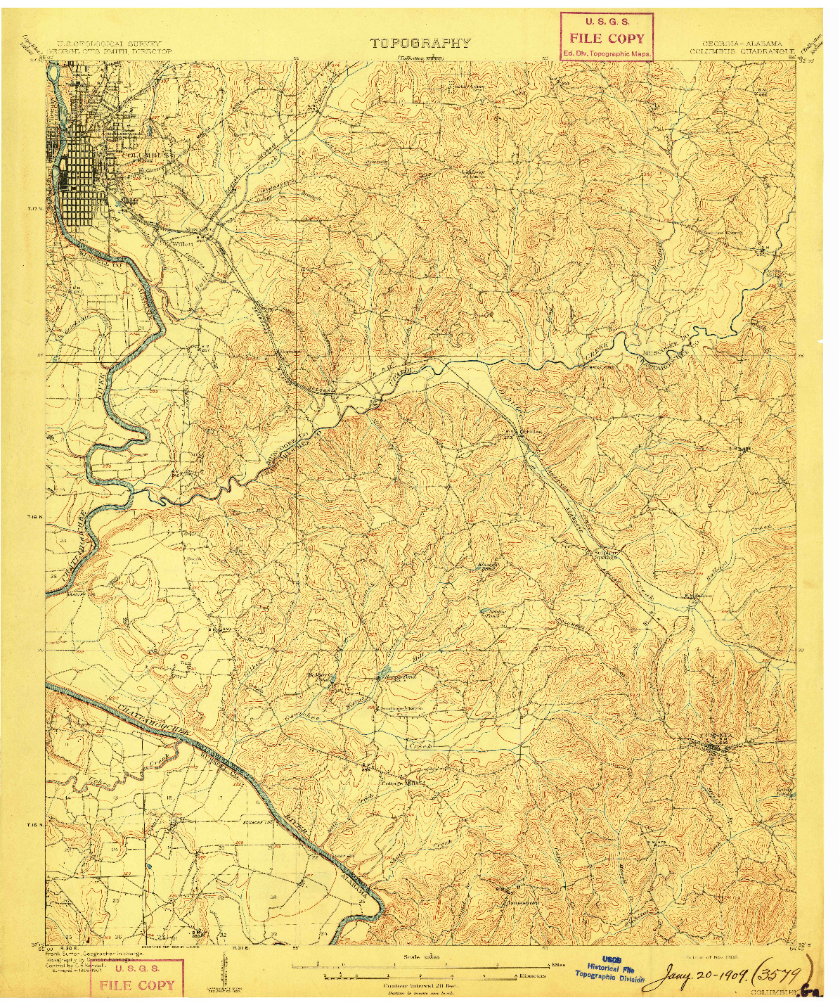 USGS 1:62500-SCALE QUADRANGLE FOR COLUMBUS, GA 1908