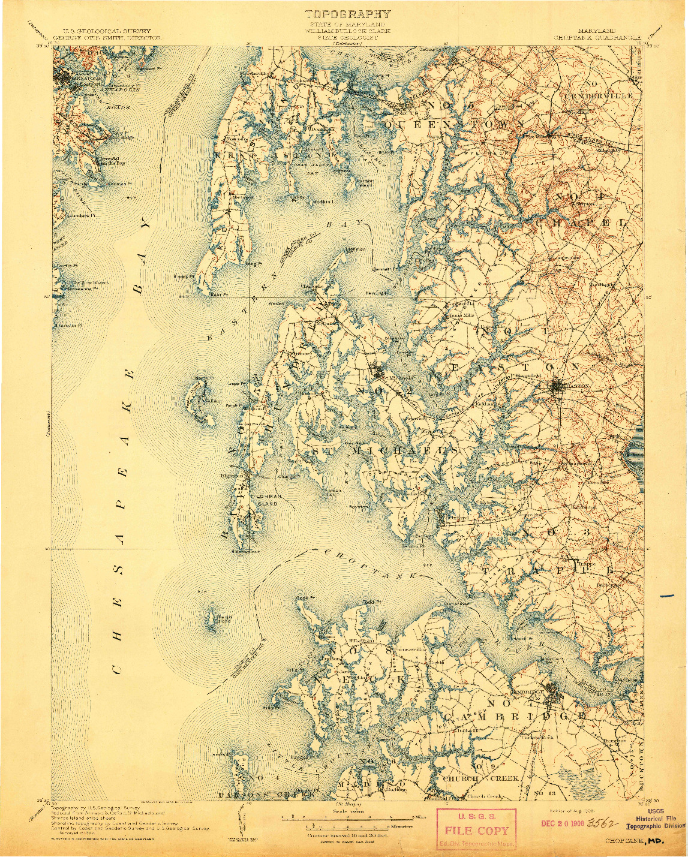 USGS 1:125000-SCALE QUADRANGLE FOR CHOPTANK, MD 1908