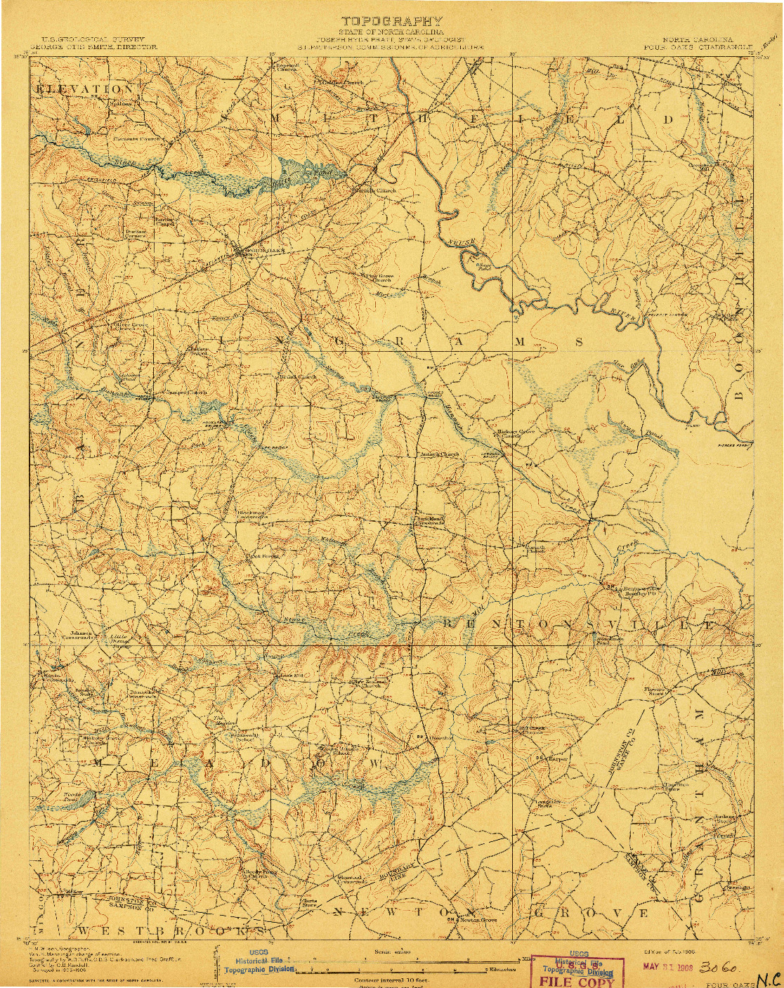 USGS 1:62500-SCALE QUADRANGLE FOR FOUR OAKS, NC 1908