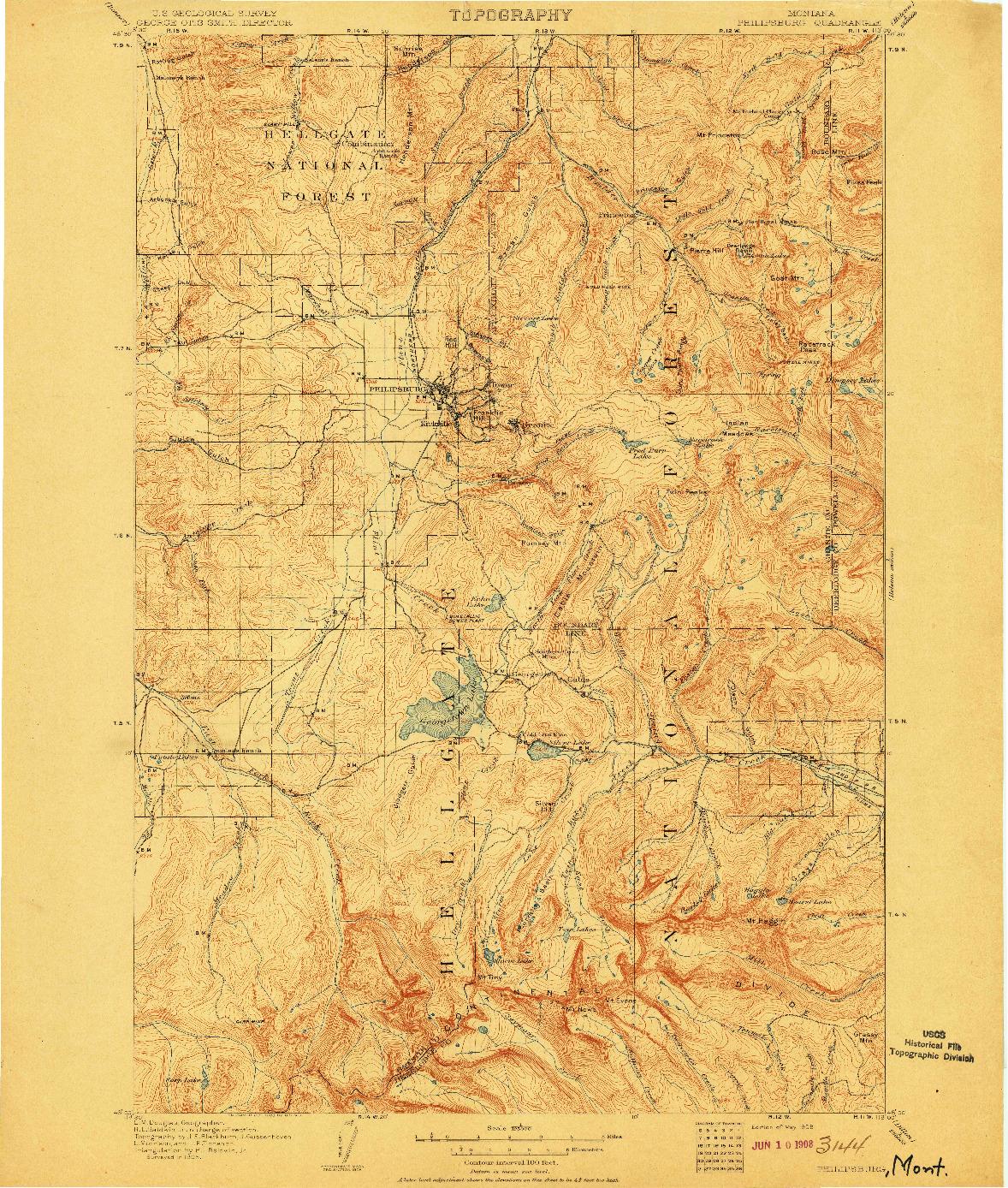 USGS 1:125000-SCALE QUADRANGLE FOR PHILIPSBURG, MT 1908