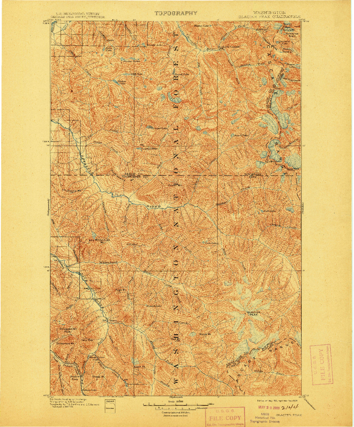 USGS 1:125000-SCALE QUADRANGLE FOR GLACIER PEAK, WA 1901
