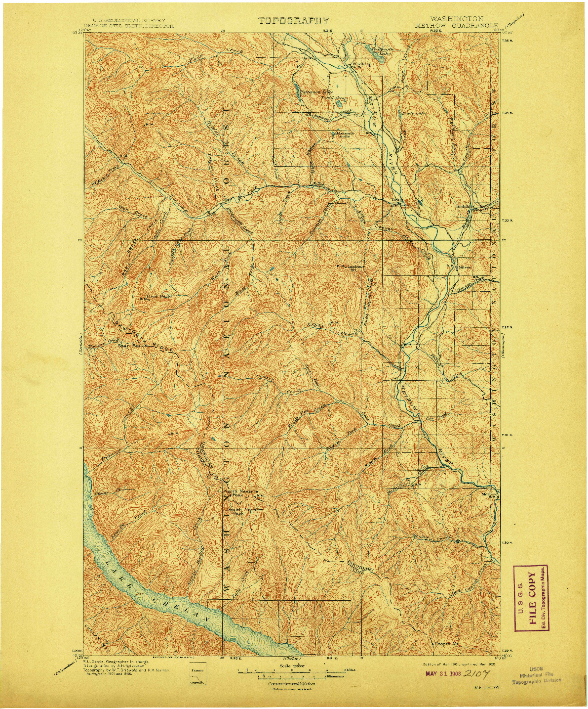 USGS 1:125000-SCALE QUADRANGLE FOR METHOW, WA 1901