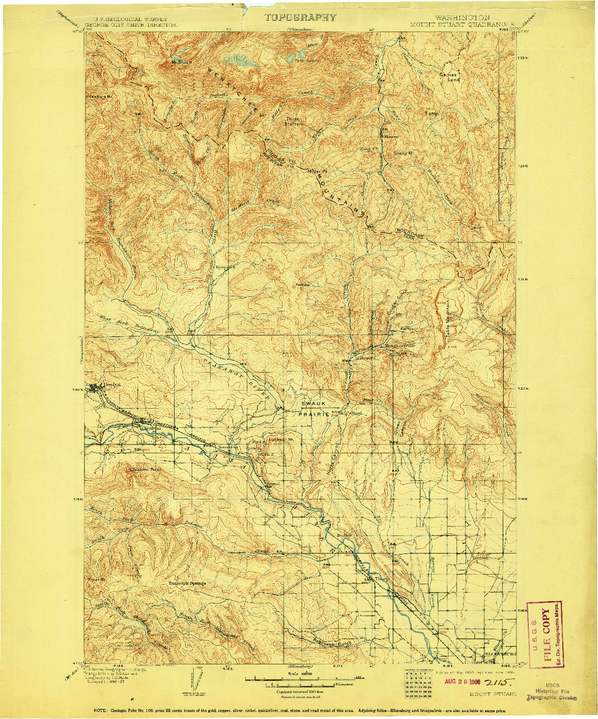USGS 1:125000-SCALE QUADRANGLE FOR MOUNT STUART, WA 1902