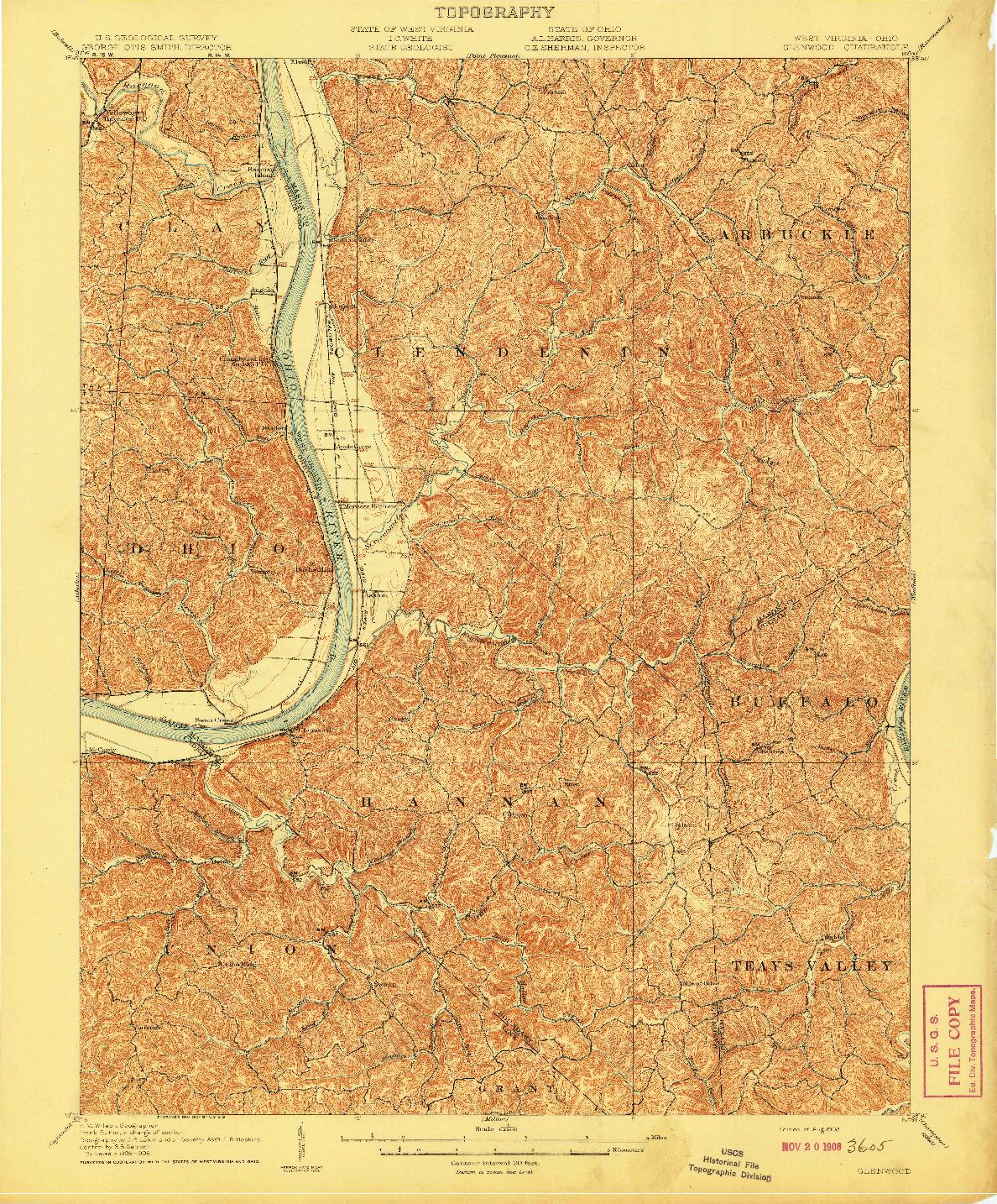 USGS 1:62500-SCALE QUADRANGLE FOR GLENWOOD, WV 1908