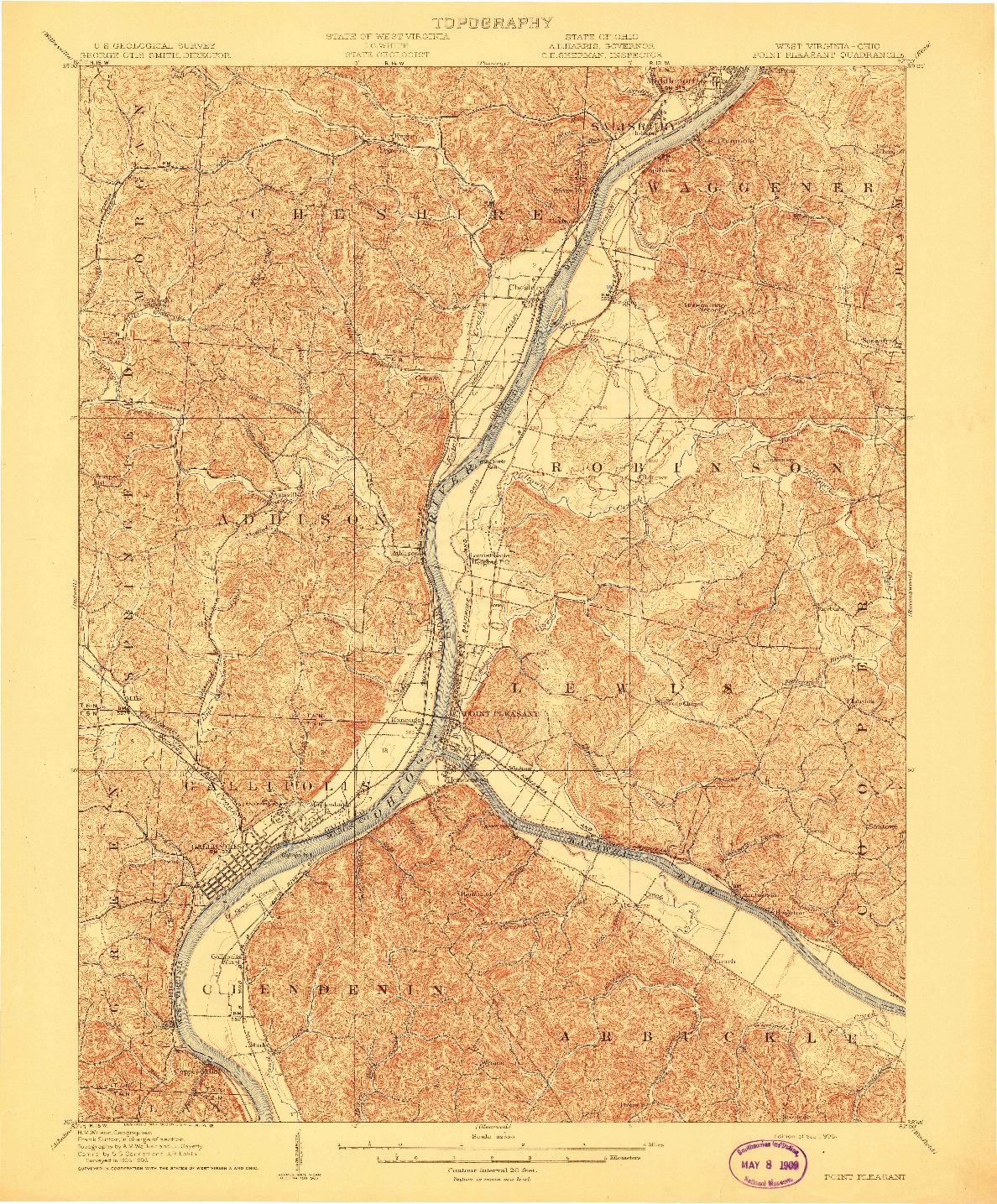USGS 1:62500-SCALE QUADRANGLE FOR POINT PLEASANT, WV 1908