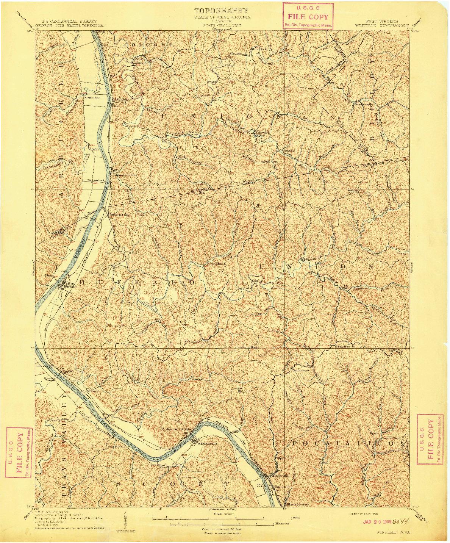 USGS 1:62500-SCALE QUADRANGLE FOR WINFIELD, WV 1908