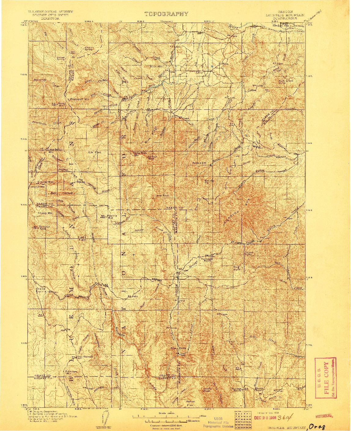 USGS 1:125000-SCALE QUADRANGLE FOR IRONSIDE MOUNTAIN, OR 1908