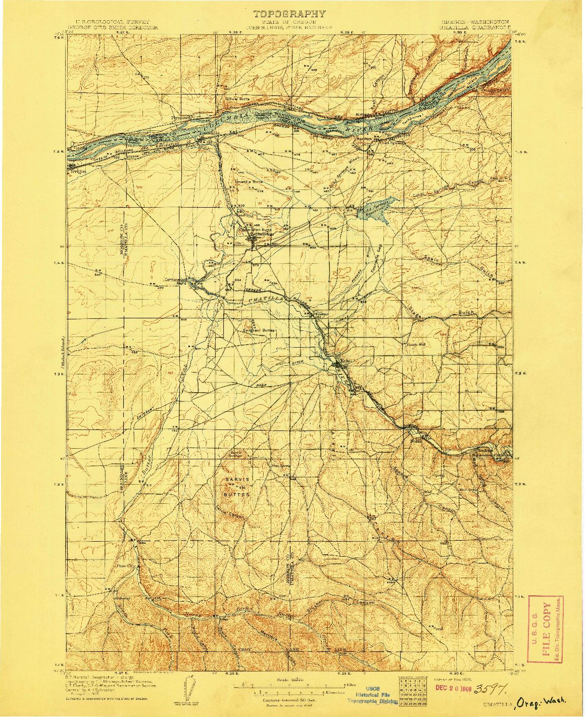 USGS 1:125000-SCALE QUADRANGLE FOR UMATILLA, OR 1908