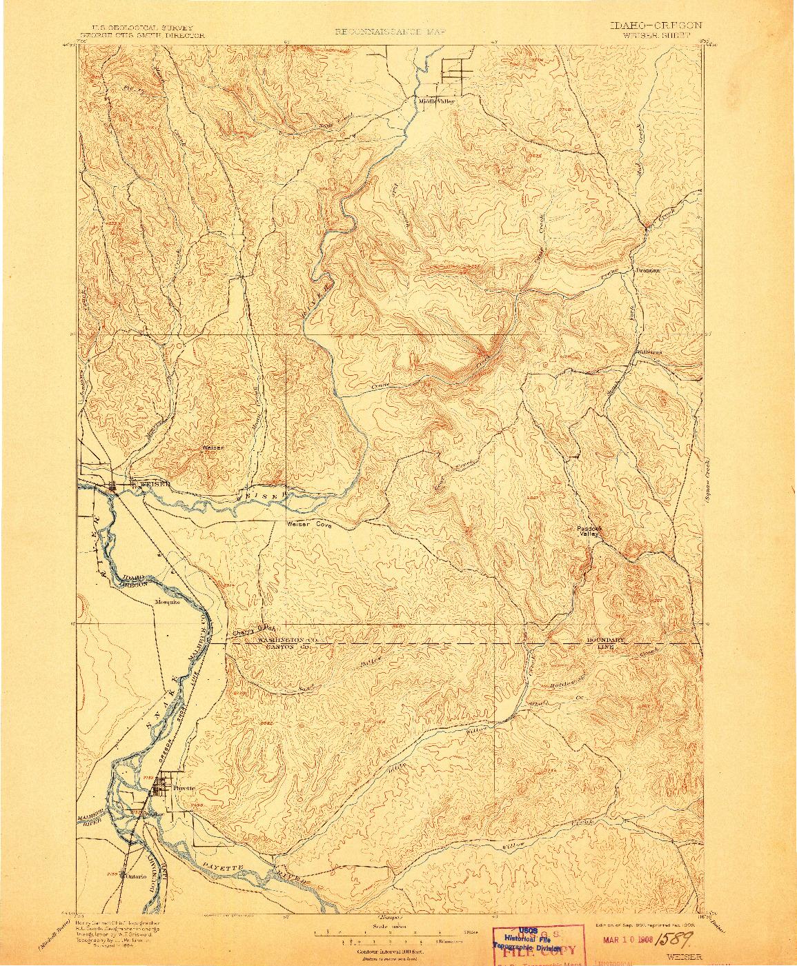 USGS 1:125000-SCALE QUADRANGLE FOR WEISER, ID 1897