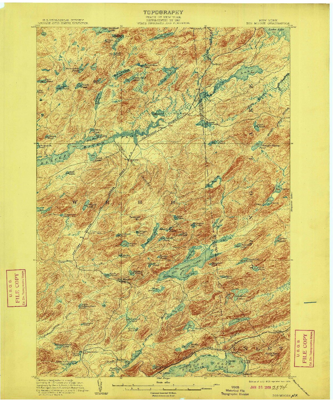 USGS 1:62500-SCALE QUADRANGLE FOR BIG MOOSE, NY 1903