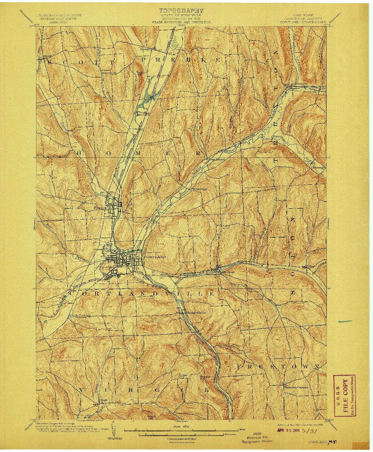 USGS 1:62500-SCALE QUADRANGLE FOR CORTLAND, NY 1903
