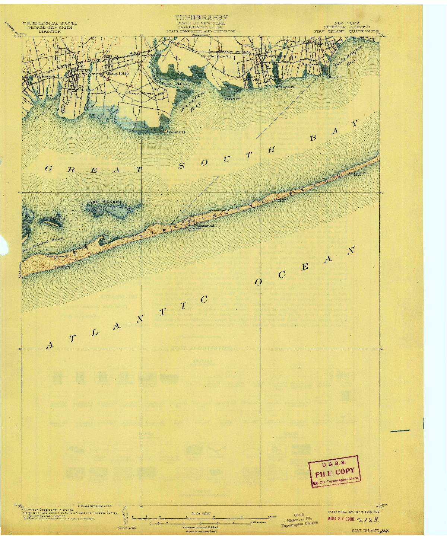 USGS 1:62500-SCALE QUADRANGLE FOR FIRE ISLAND, NY 1903