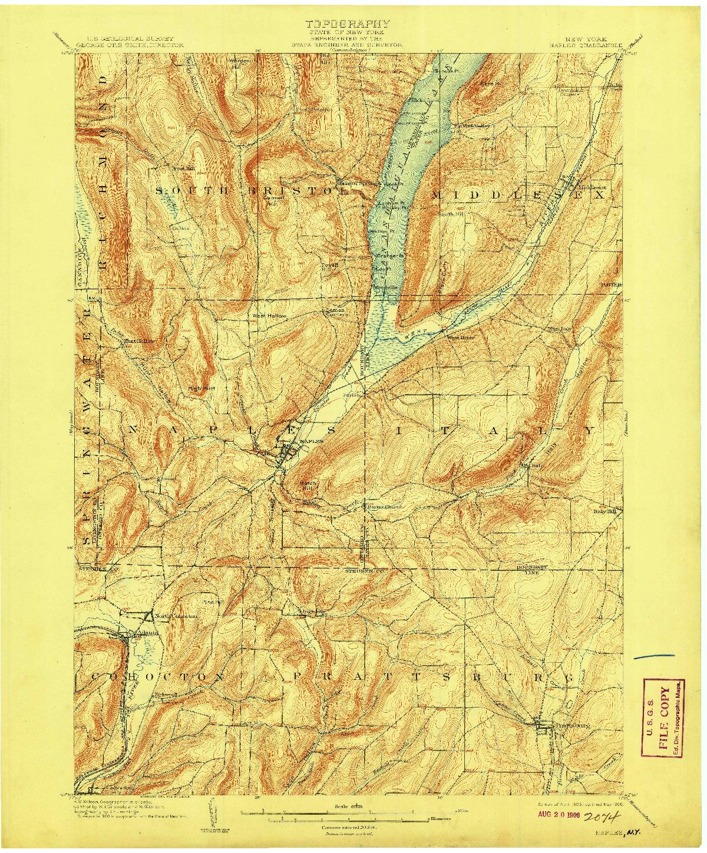 USGS 1:62500-SCALE QUADRANGLE FOR NAPLES, NY 1903