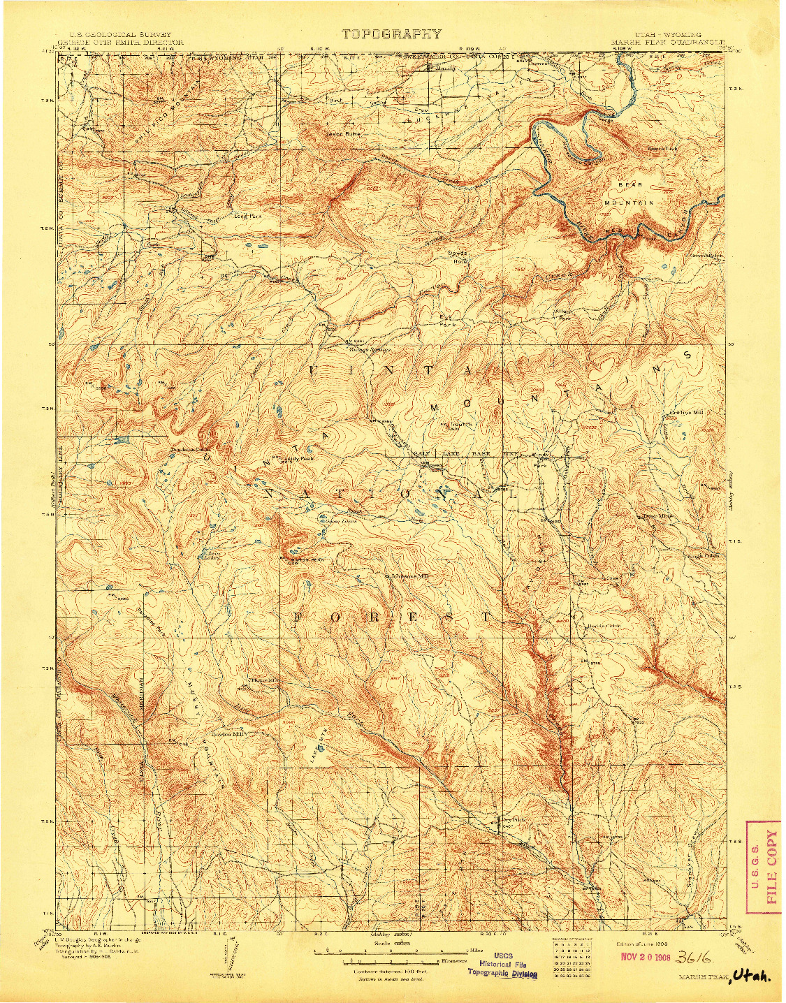 USGS 1:125000-SCALE QUADRANGLE FOR MARSH PEAK, UT 1908