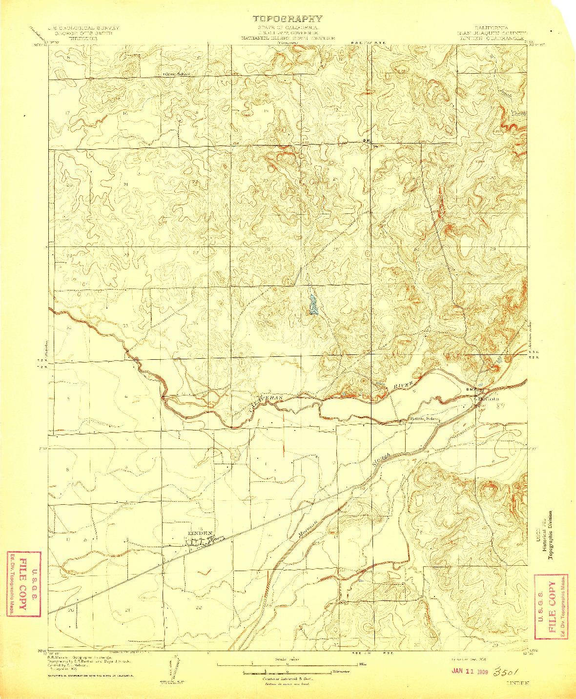 USGS 1:31680-SCALE QUADRANGLE FOR LINDEN, CA 1908