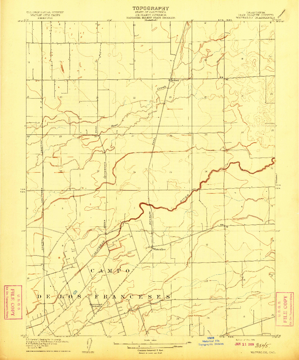 USGS 1:31680-SCALE QUADRANGLE FOR WATERLOO, CA 1908