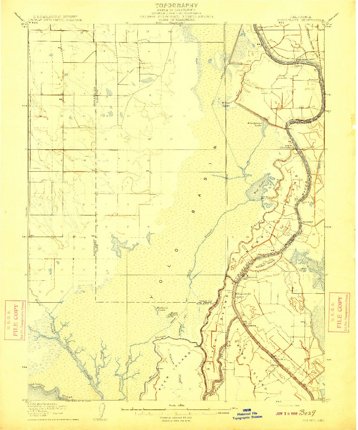 USGS 1:62500-SCALE QUADRANGLE FOR COURTLAND, CA 1908