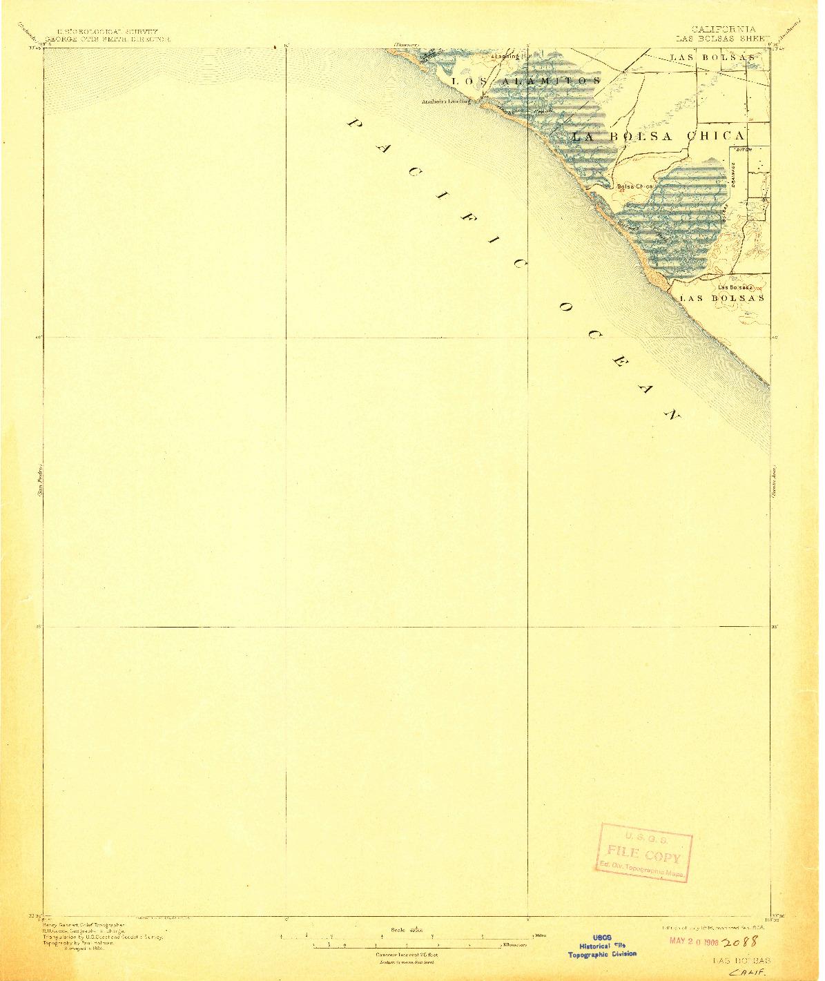 USGS 1:62500-SCALE QUADRANGLE FOR LAS BOLSAS, CA 1896
