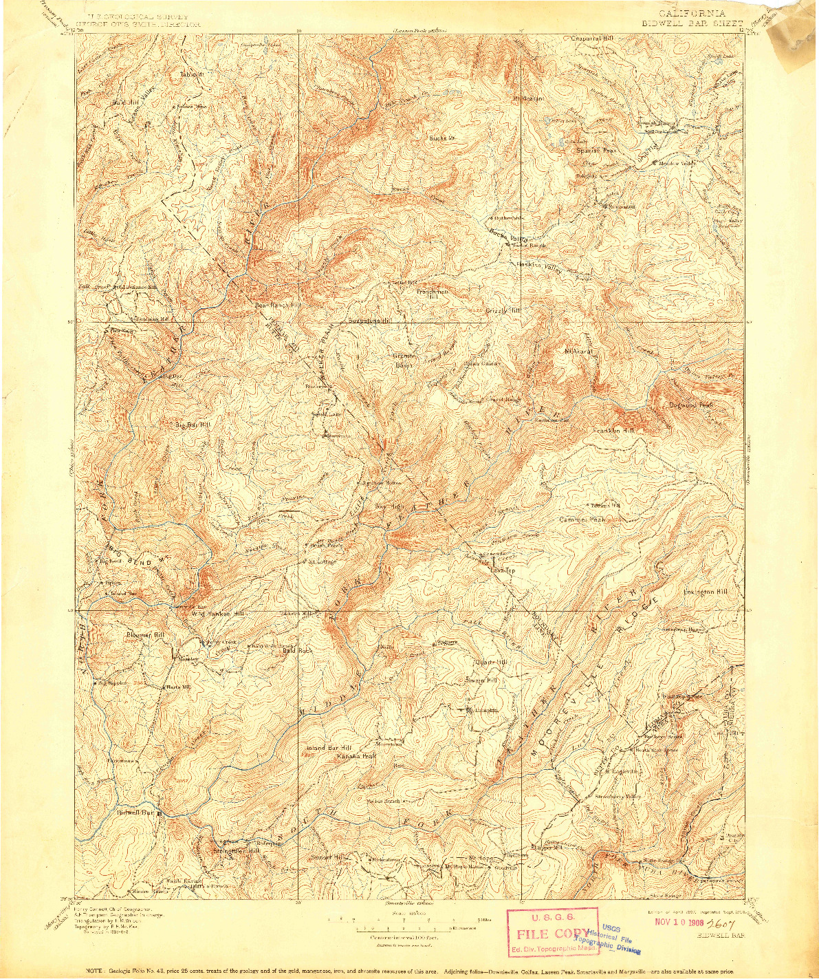 USGS 1:125000-SCALE QUADRANGLE FOR BIDWELL BAR, CA 1897