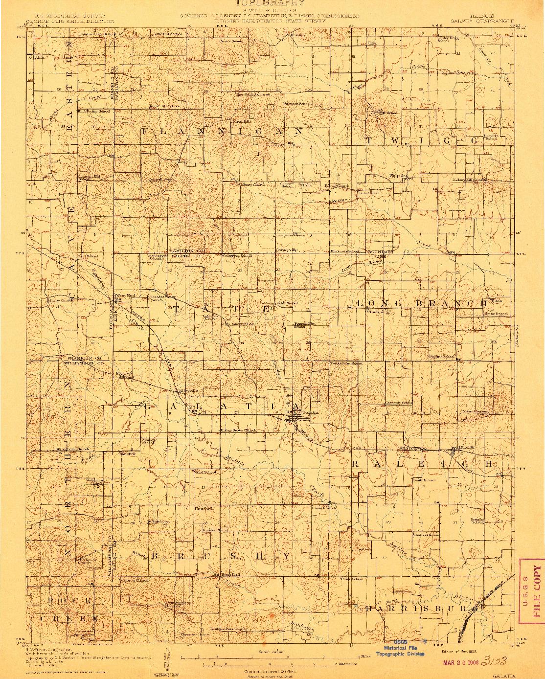 USGS 1:62500-SCALE QUADRANGLE FOR GALATIA, IL 1908