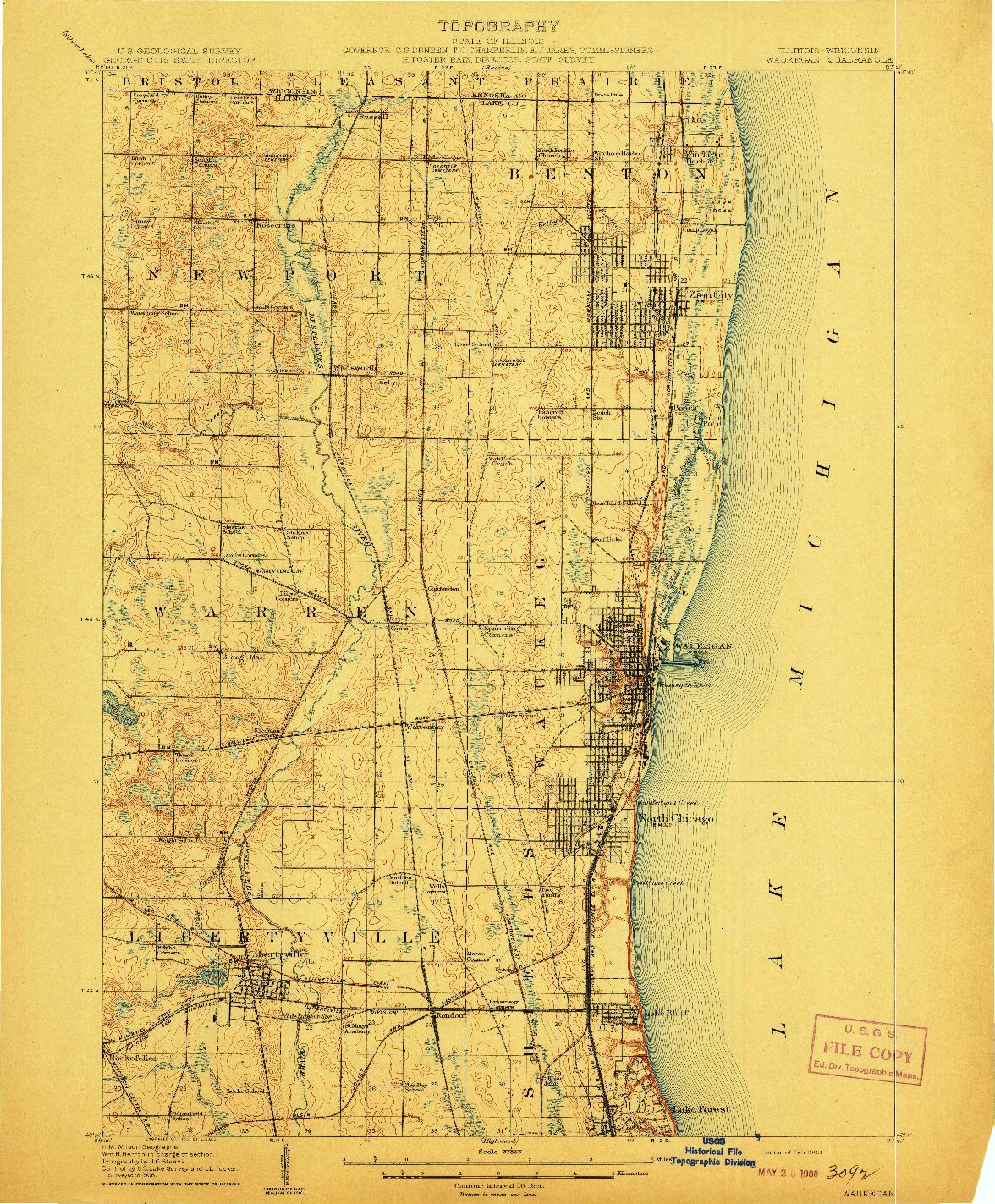 USGS 1:62500-SCALE QUADRANGLE FOR WAUKEGAN, IL 1908