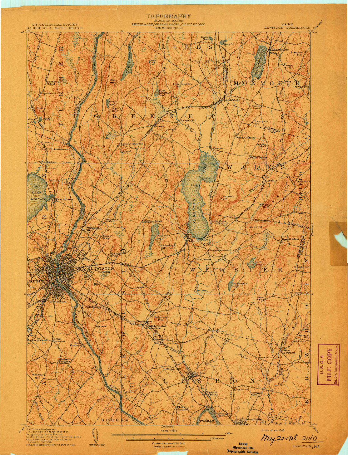 USGS 1:62500-SCALE QUADRANGLE FOR LEWISTON, ME 1908