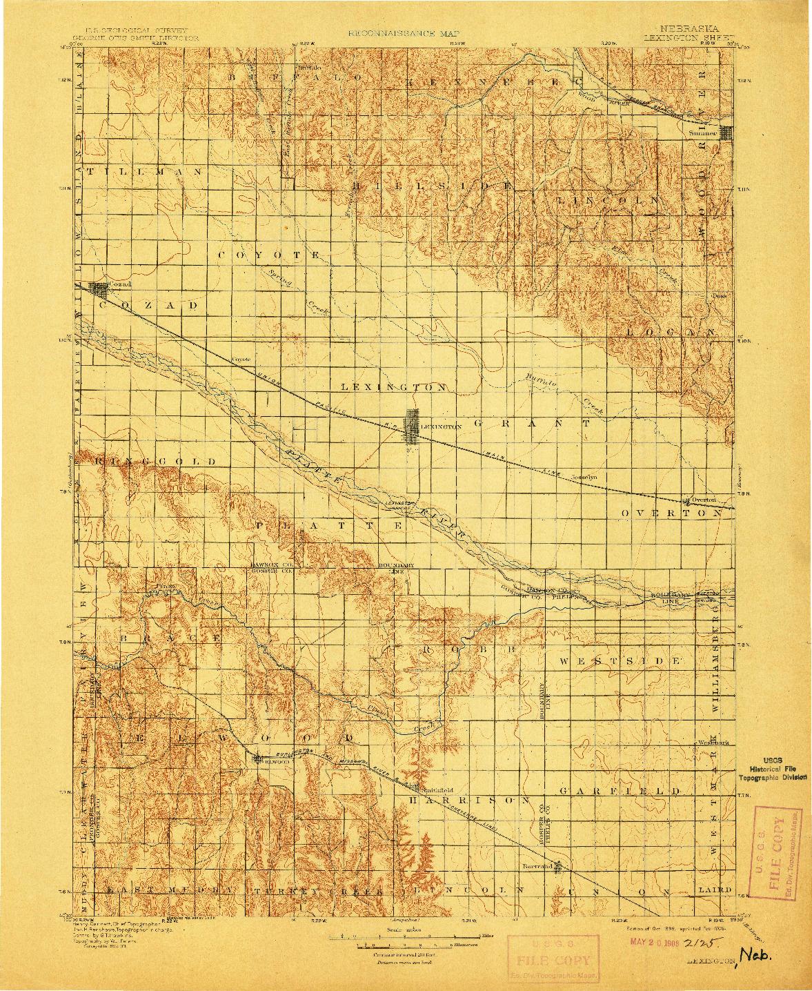 USGS 1:125000-SCALE QUADRANGLE FOR LEXINGTON, NE 1899