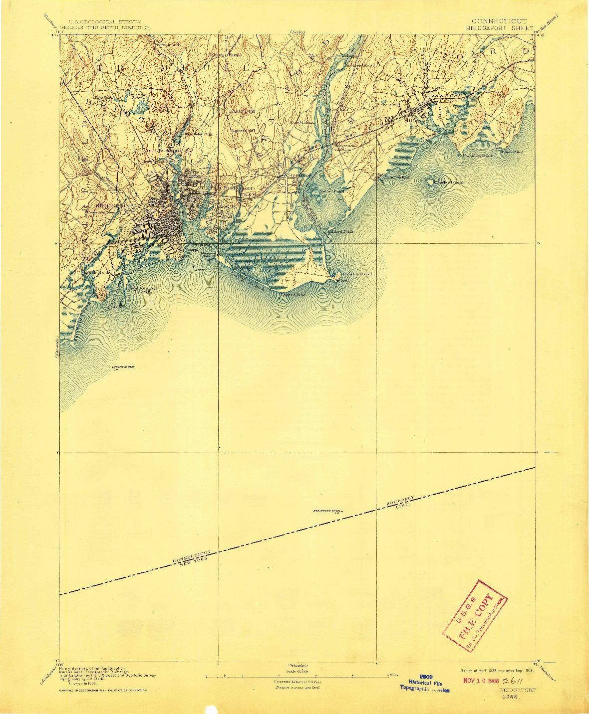 USGS 1:62500-SCALE QUADRANGLE FOR BRIDGEPORT, CT 1893