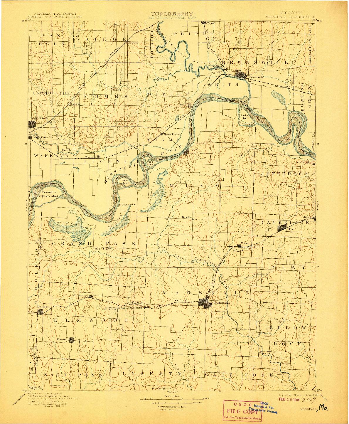 USGS 1:125000-SCALE QUADRANGLE FOR MARSHALL, MO 1901