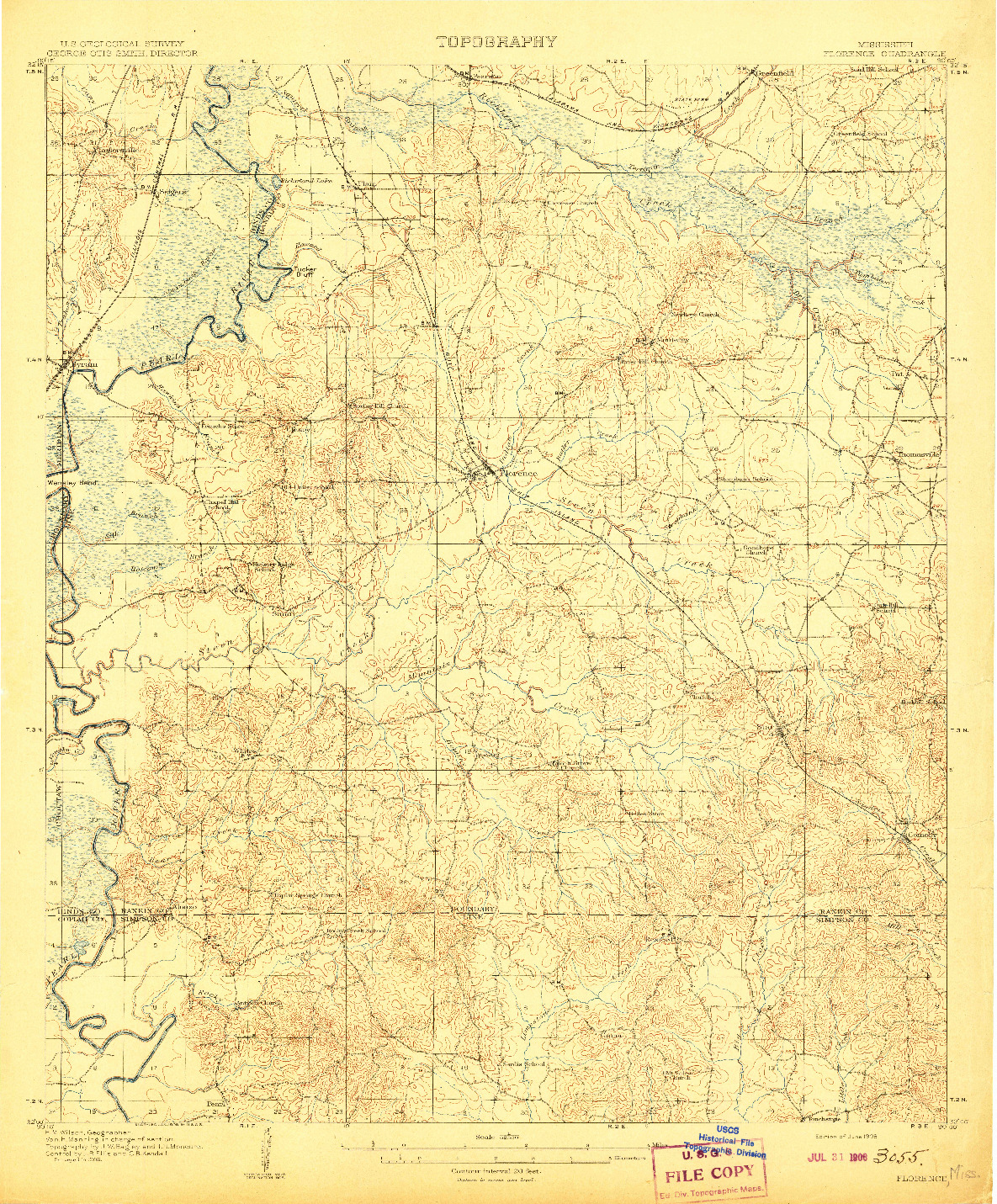 USGS 1:62500-SCALE QUADRANGLE FOR FLORENCE, MS 1908