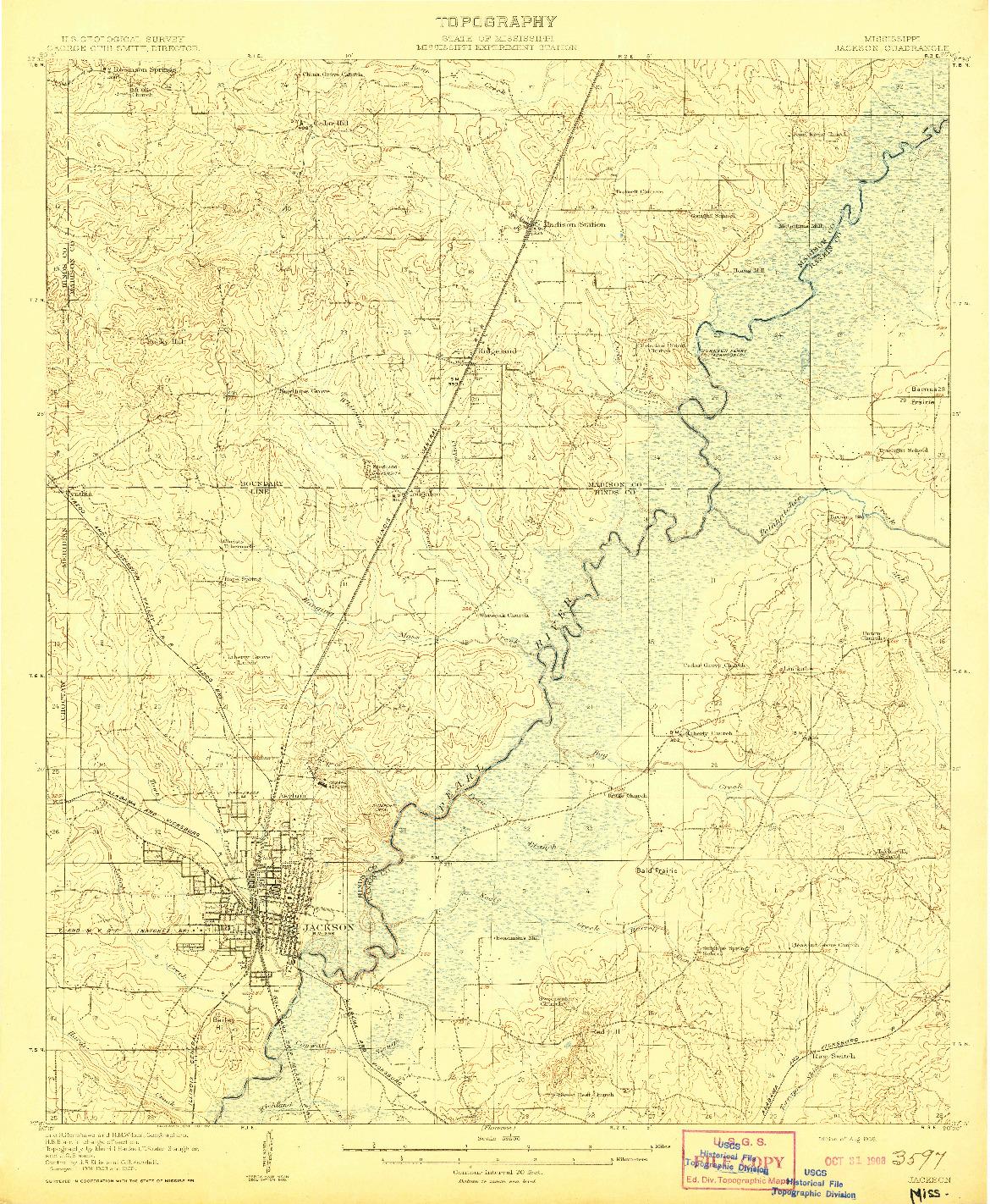 USGS 1:62500-SCALE QUADRANGLE FOR JACKSON, MS 1908
