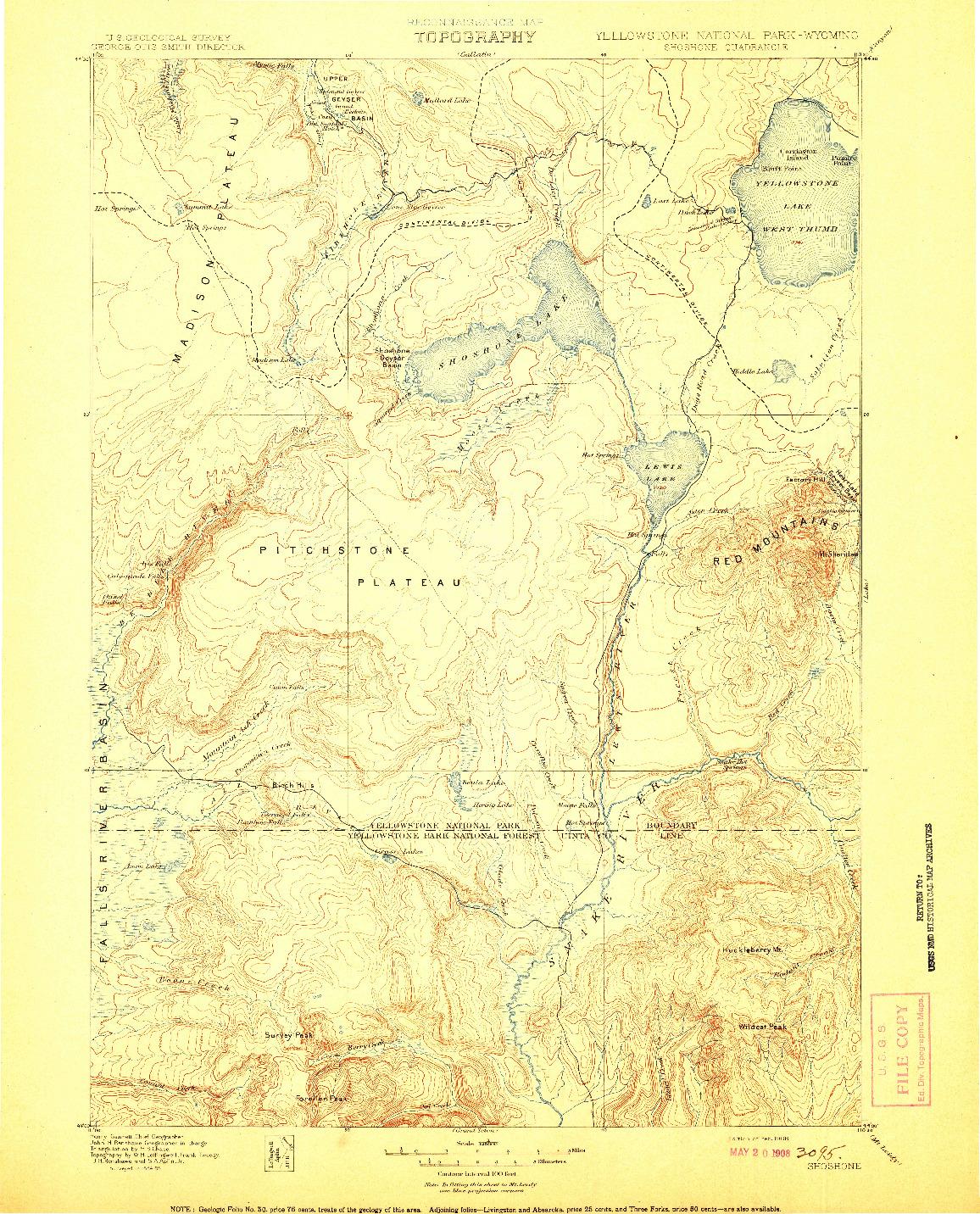 USGS 1:125000-SCALE QUADRANGLE FOR SHOSHONE, WY 1908