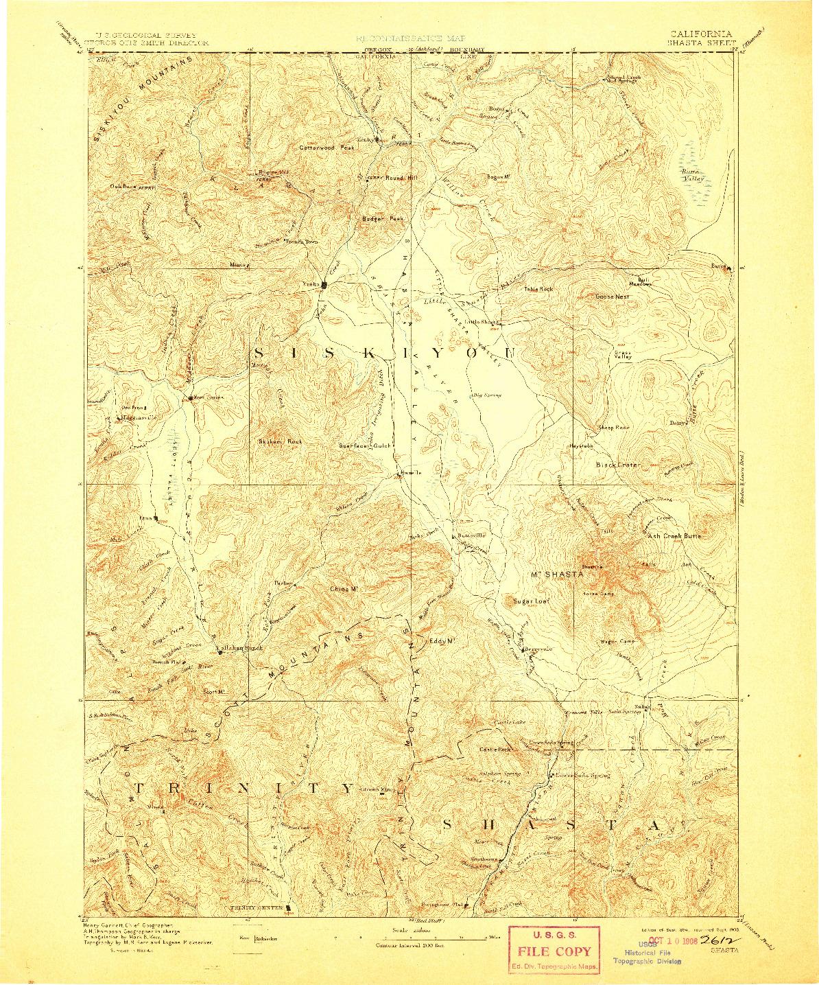 USGS 1:250000-SCALE QUADRANGLE FOR SHASTA, CA 1894