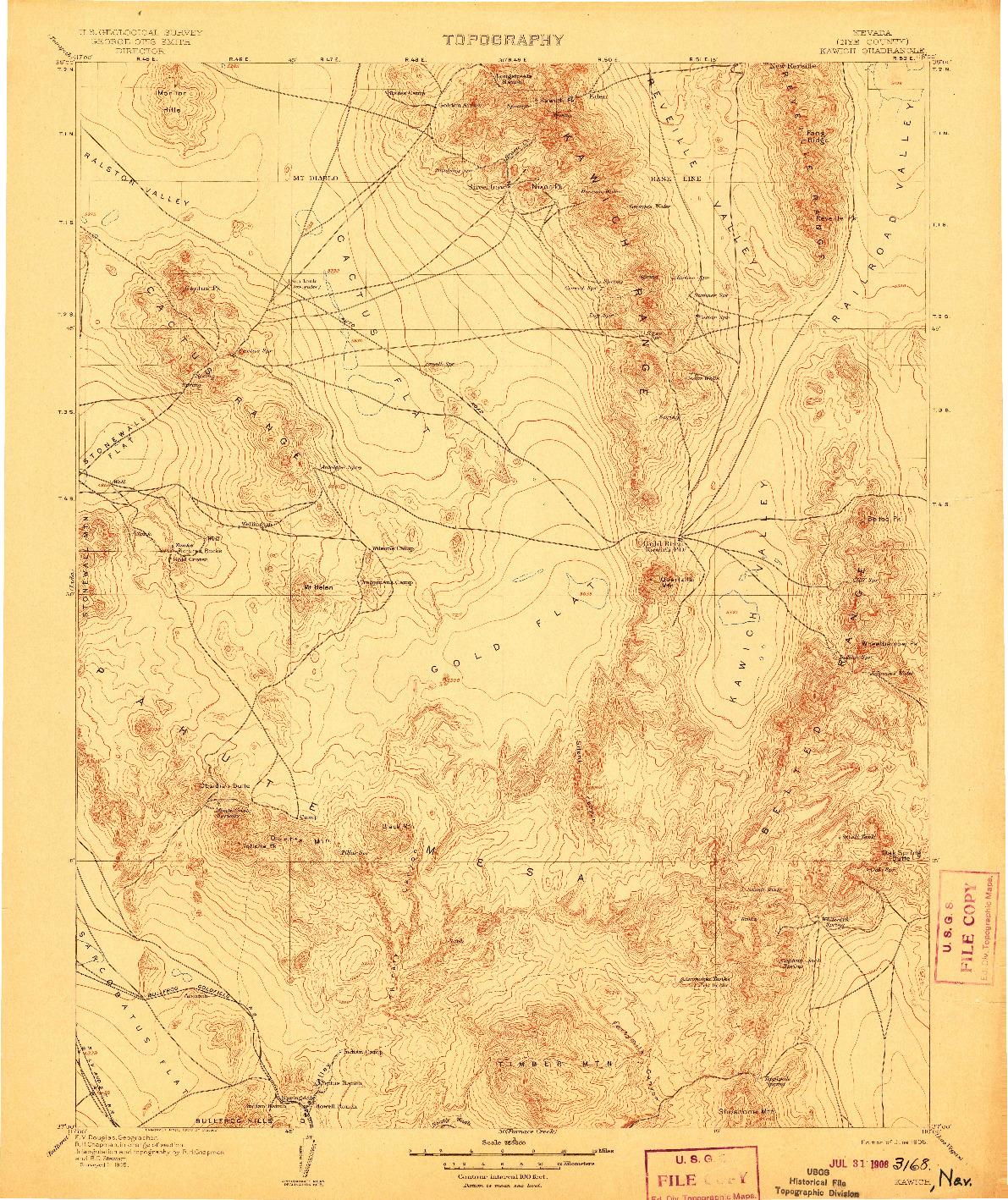 USGS 1:250000-SCALE QUADRANGLE FOR KAWICH, NV 1908