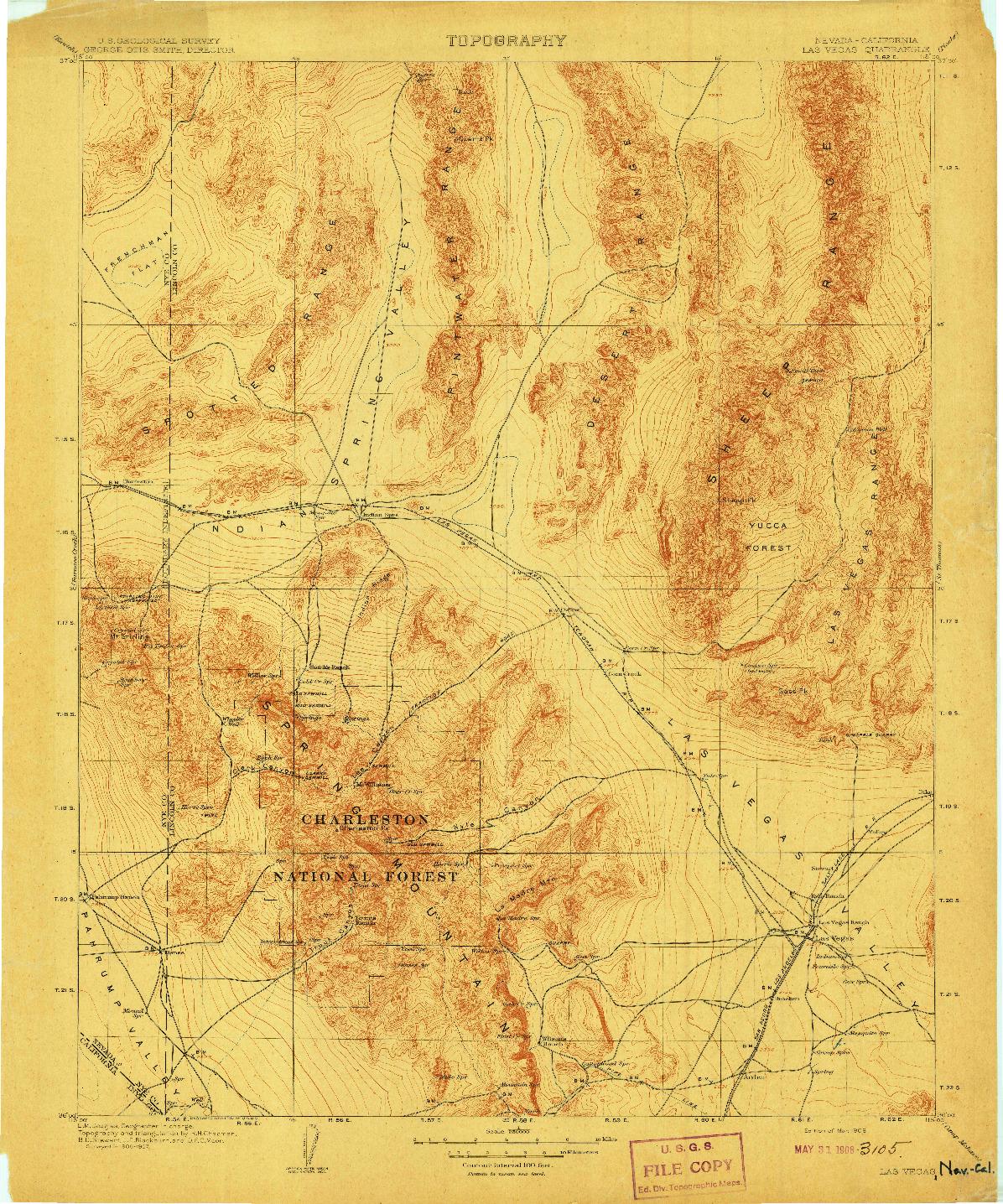 USGS 1:250000-SCALE QUADRANGLE FOR LAS VEGAS, NV 1908