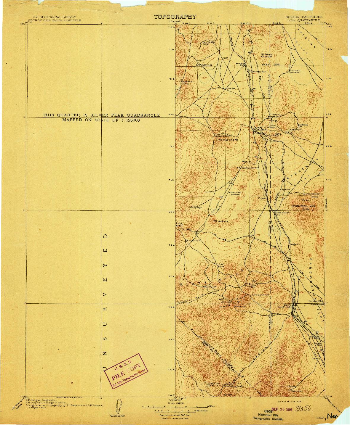 USGS 1:250000-SCALE QUADRANGLE FOR LIDA, NV 1908