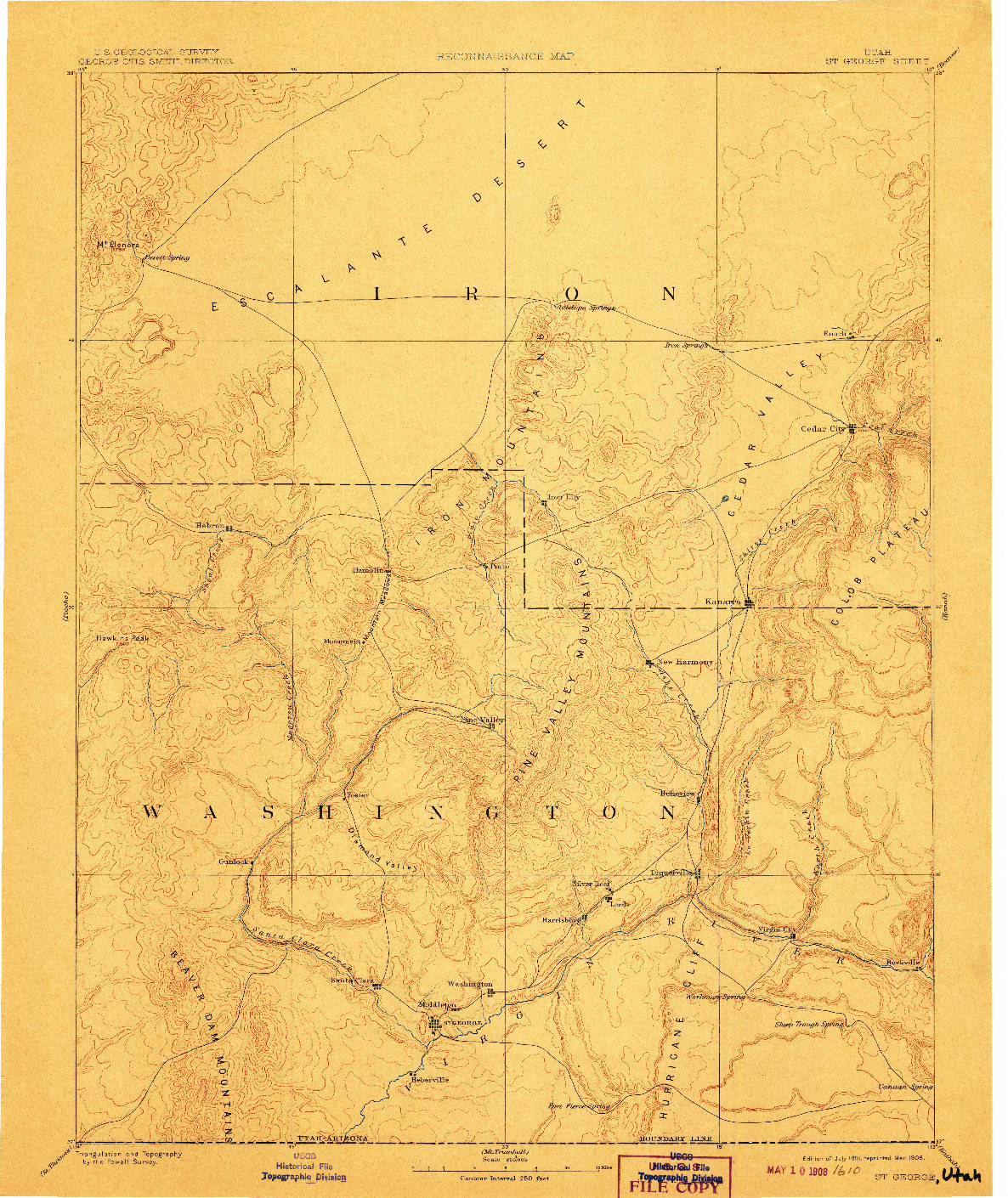 USGS 1:250000-SCALE QUADRANGLE FOR ST. GEORGE, UT 1891