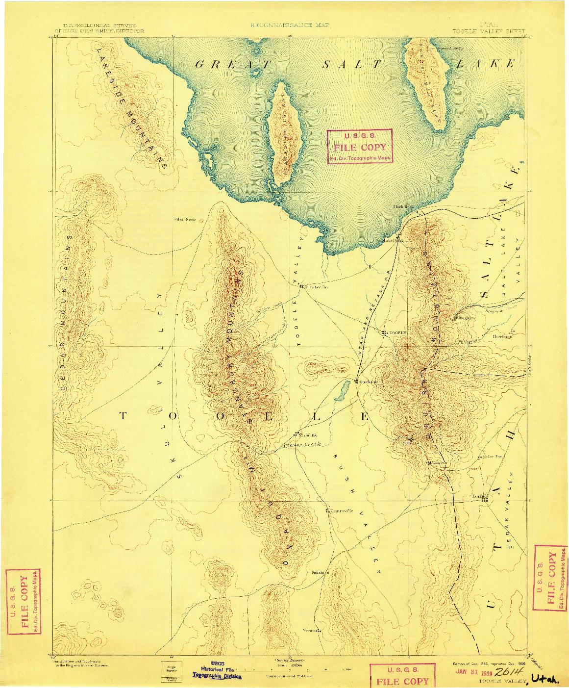 USGS 1:250000-SCALE QUADRANGLE FOR TOOELE VALLEY, UT 1885