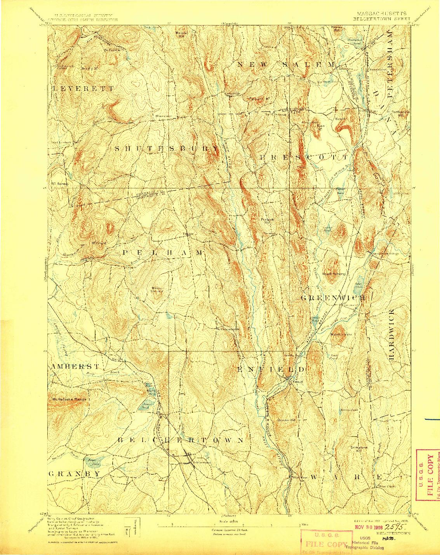 USGS 1:62500-SCALE QUADRANGLE FOR BELCHERTOWN, MA 1893