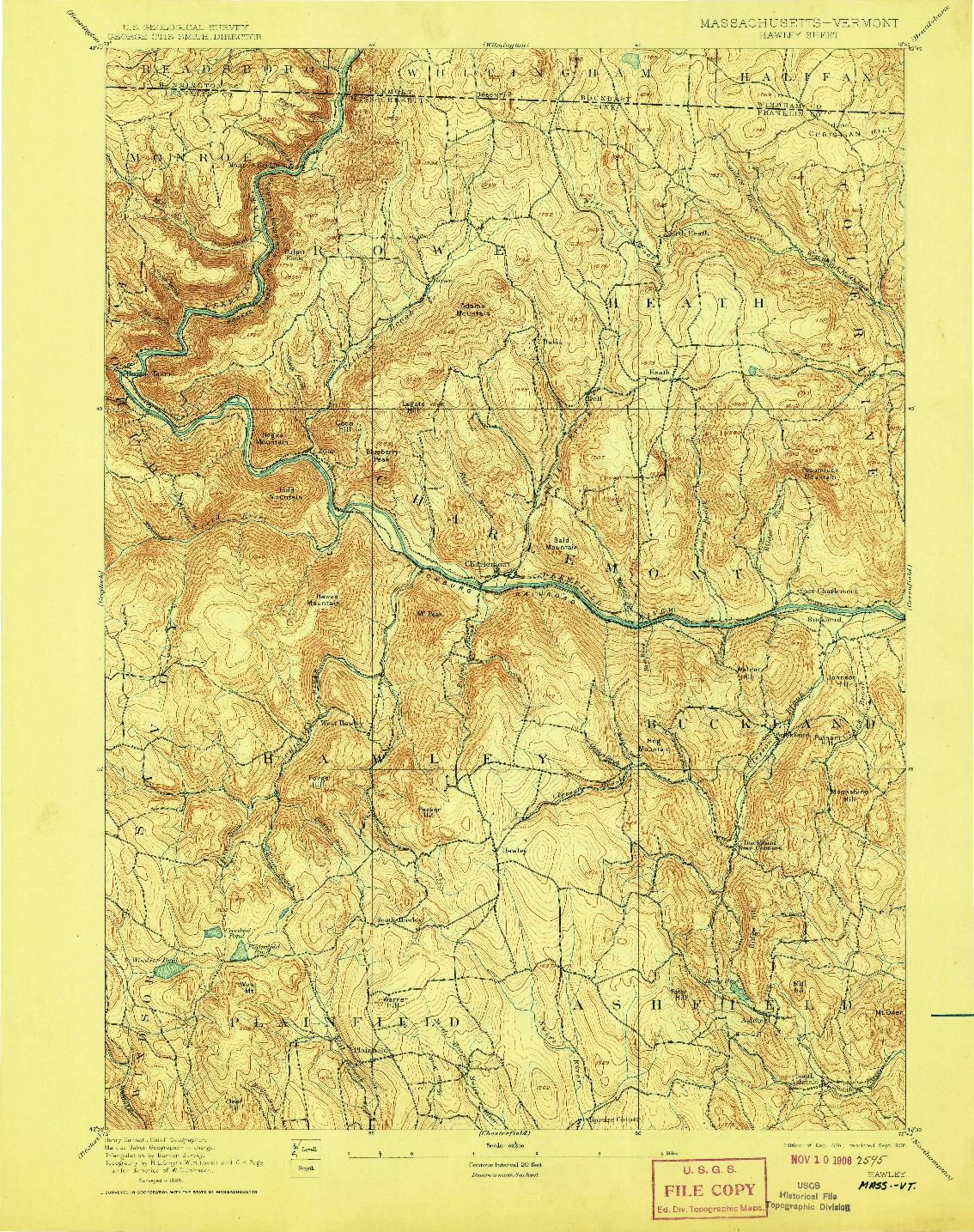 USGS 1:62500-SCALE QUADRANGLE FOR HAWLEY, MA 1894