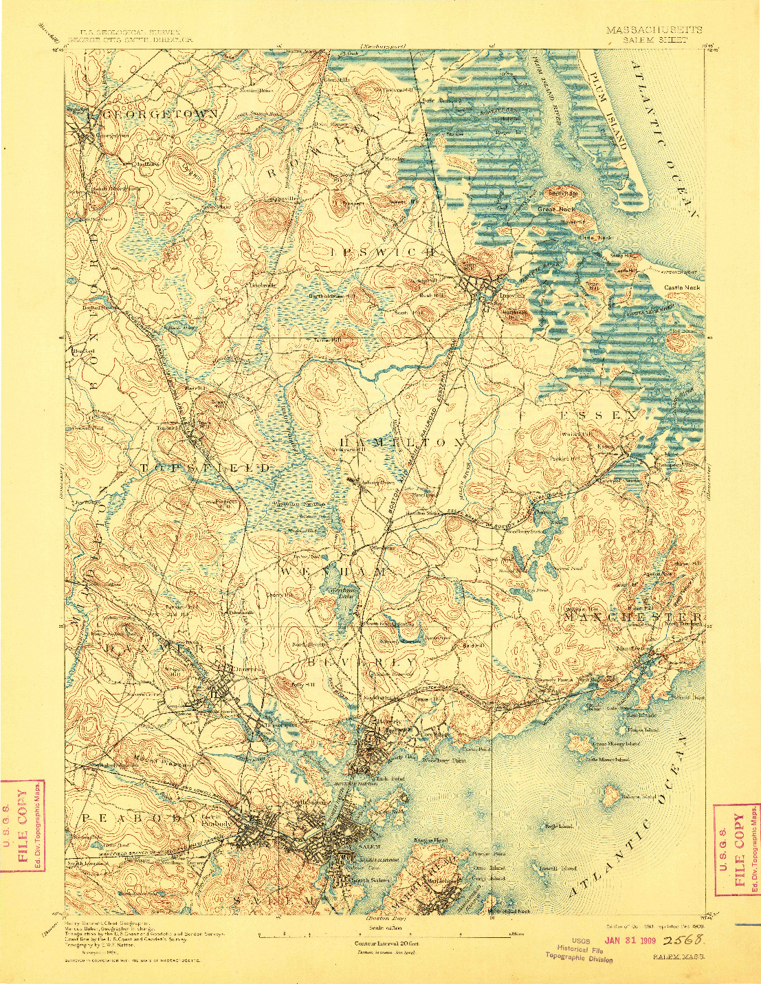 USGS 1:62500-SCALE QUADRANGLE FOR SALEM, MA 1893