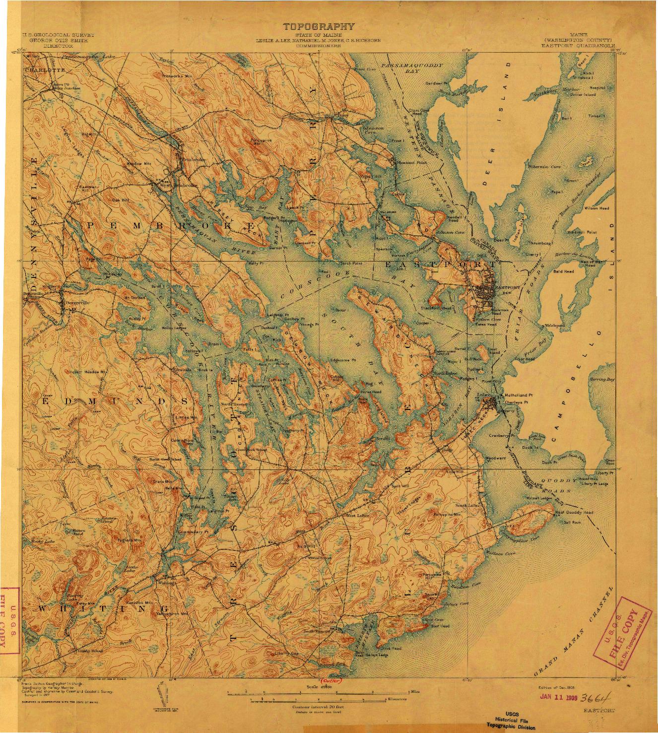 USGS 1:62500-SCALE QUADRANGLE FOR EASTPORT, ME 1908