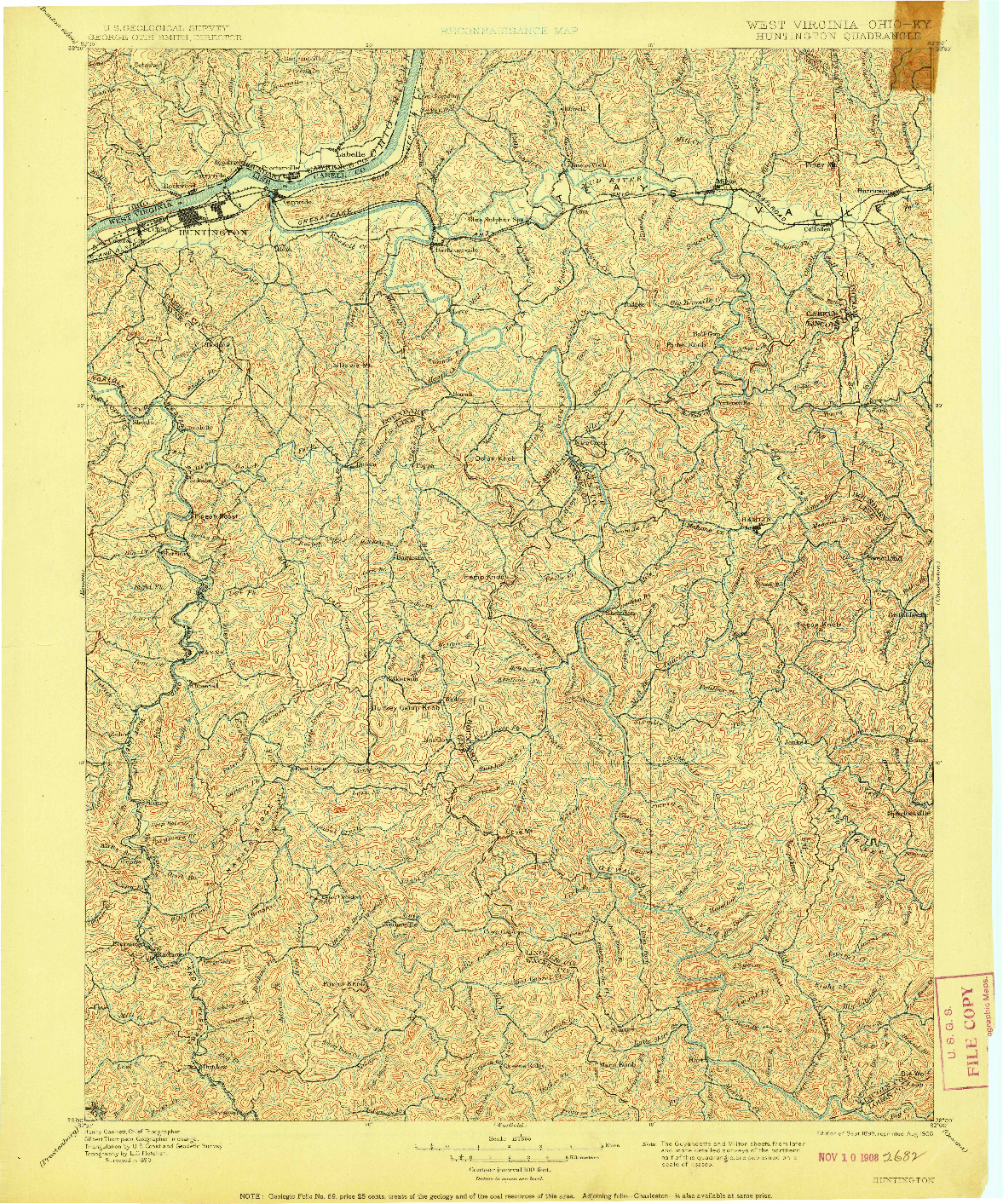 USGS 1:125000-SCALE QUADRANGLE FOR HUNTINGTON, WV 1898