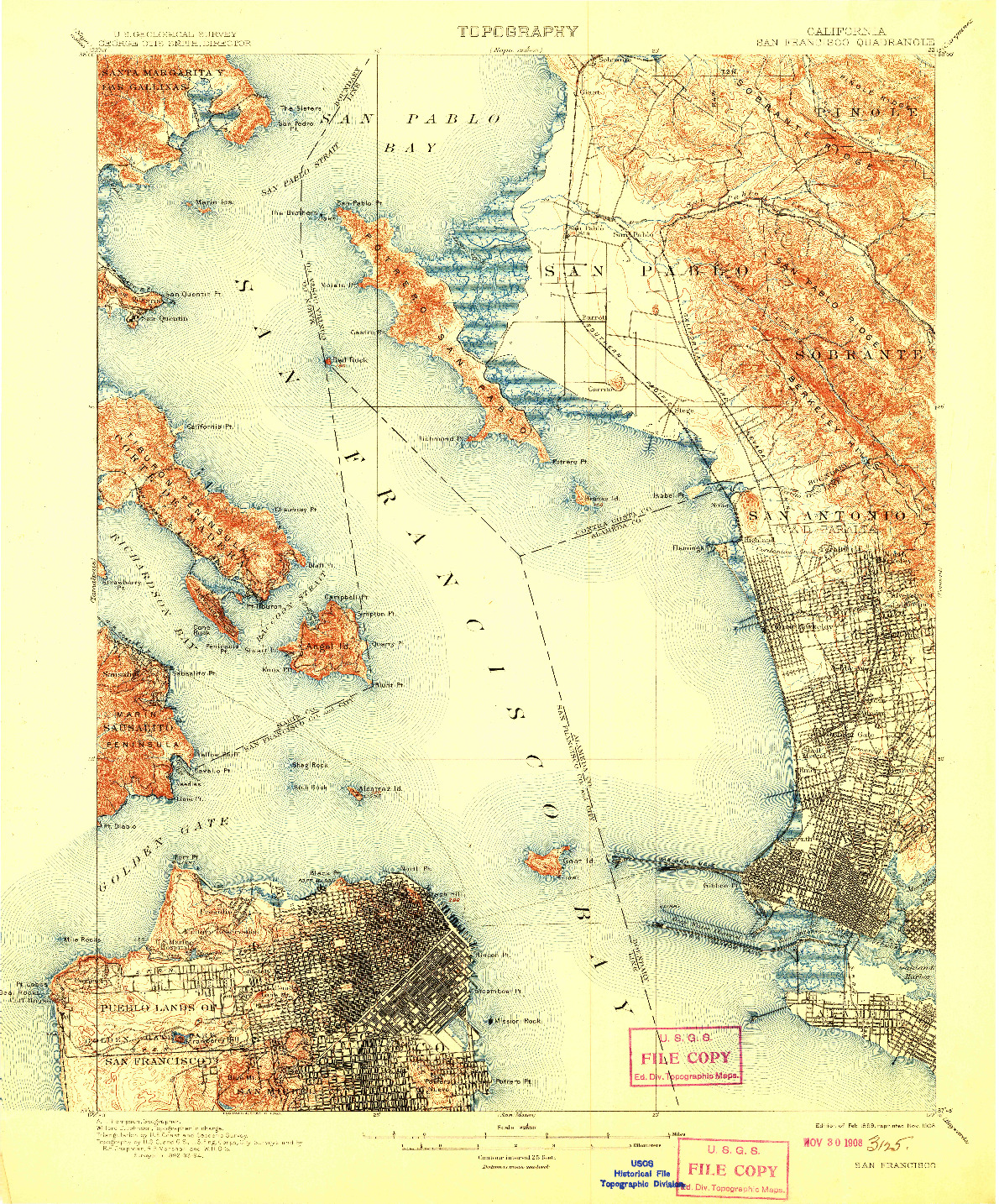 USGS 1:62500-SCALE QUADRANGLE FOR SAN FRANCISCO, CA 1899