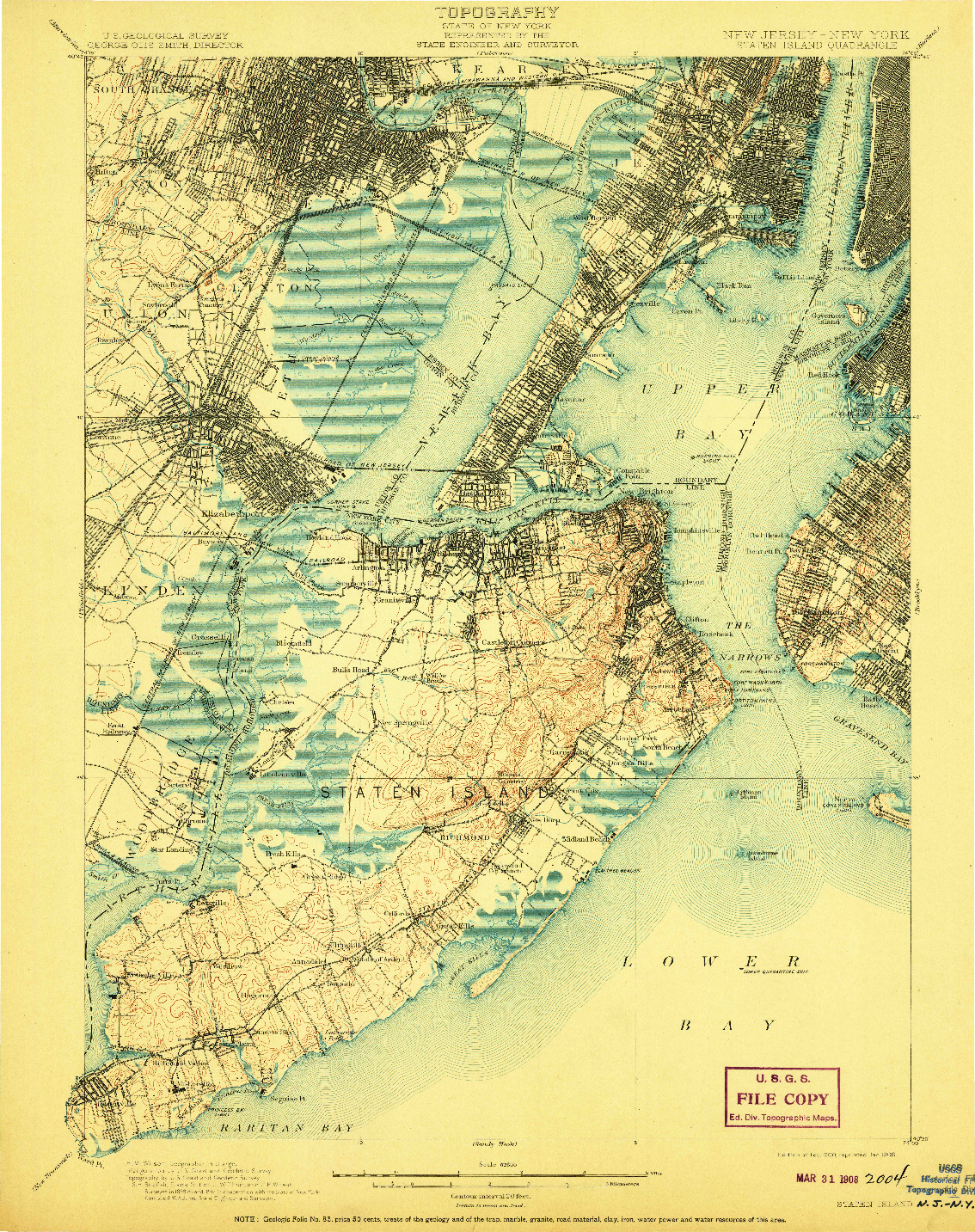 USGS 1:62500-SCALE QUADRANGLE FOR STATEN ISLAND, NJ 1900