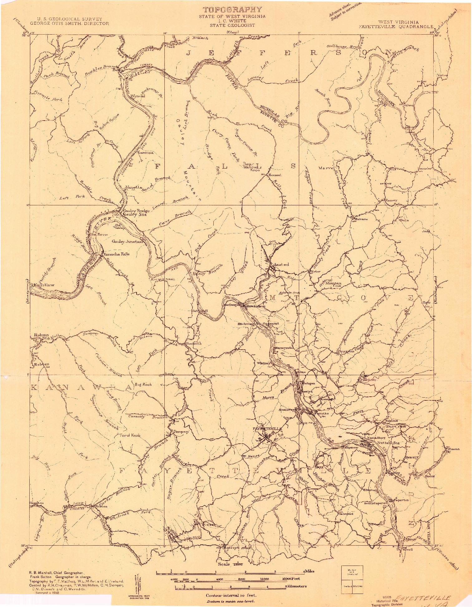 USGS 1:48000-SCALE QUADRANGLE FOR FAYETTEVILLE, WV 1908
