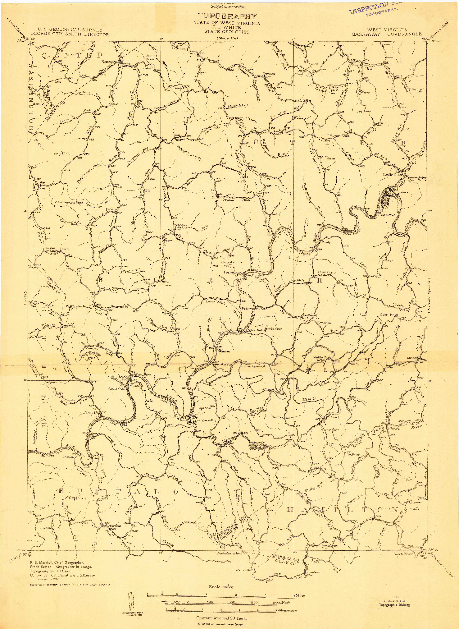 USGS 1:48000-SCALE QUADRANGLE FOR GASSAWAY, WV 1908