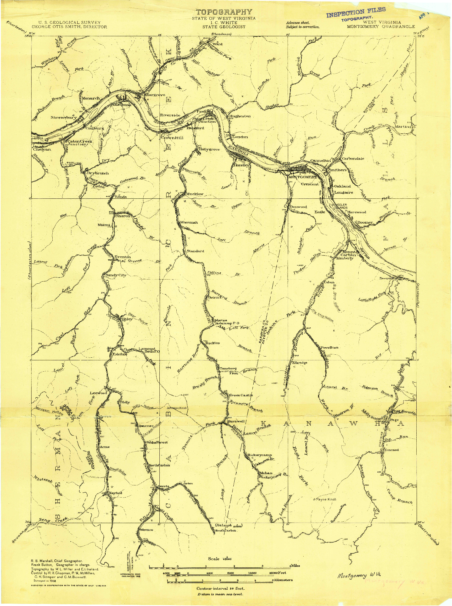 USGS 1:48000-SCALE QUADRANGLE FOR MONTGOMERY, WV 1908