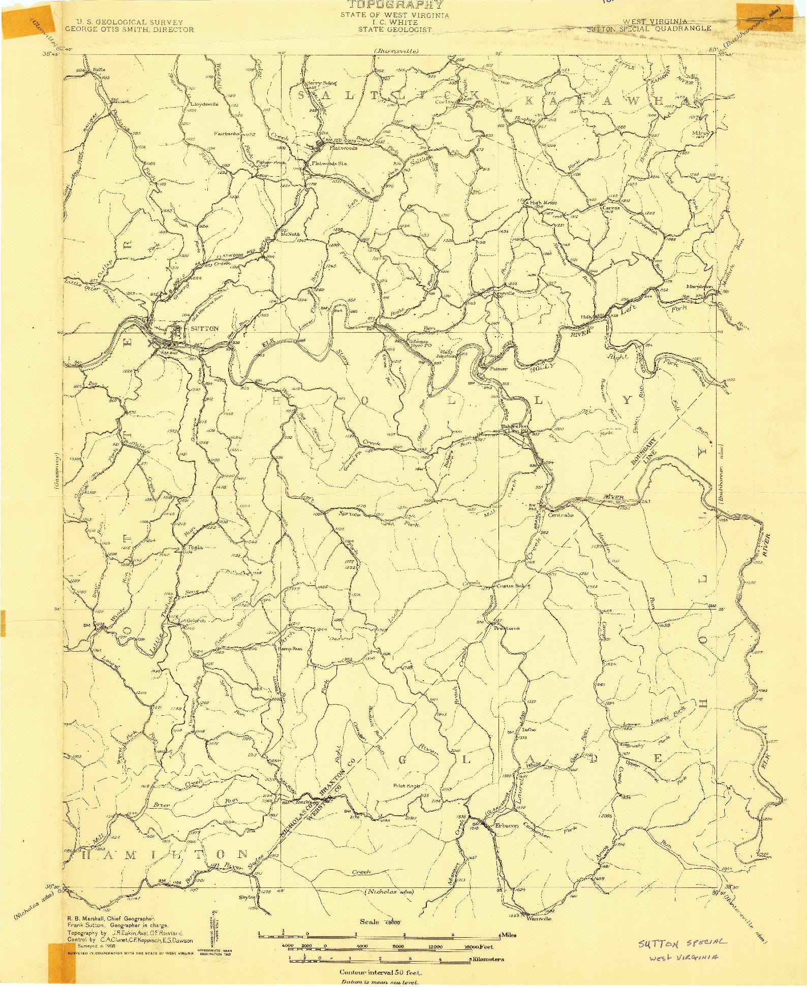 USGS 1:48000-SCALE QUADRANGLE FOR SUTTON, WV 1908