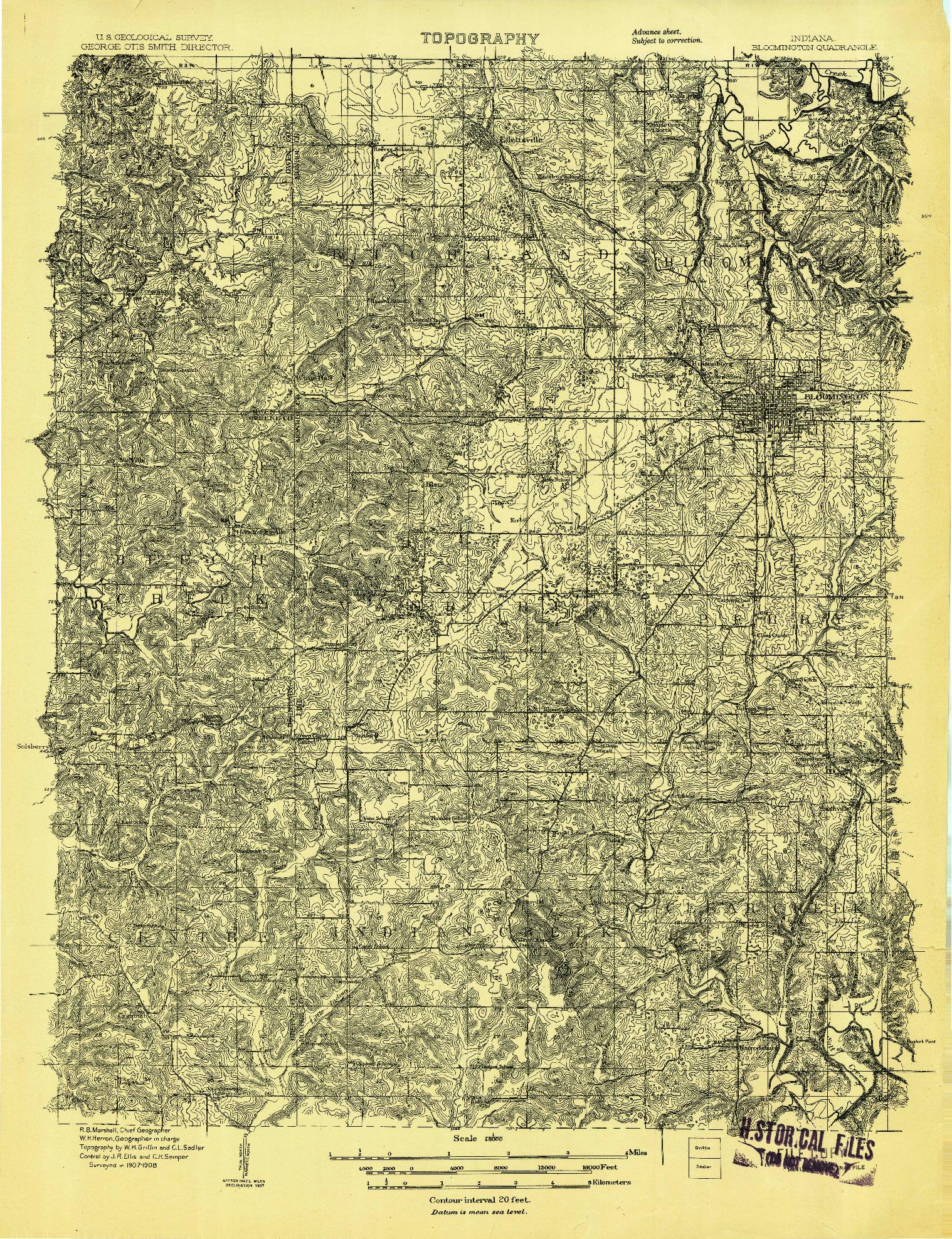 USGS 1:48000-SCALE QUADRANGLE FOR BLOOMINGTON, IN 1908